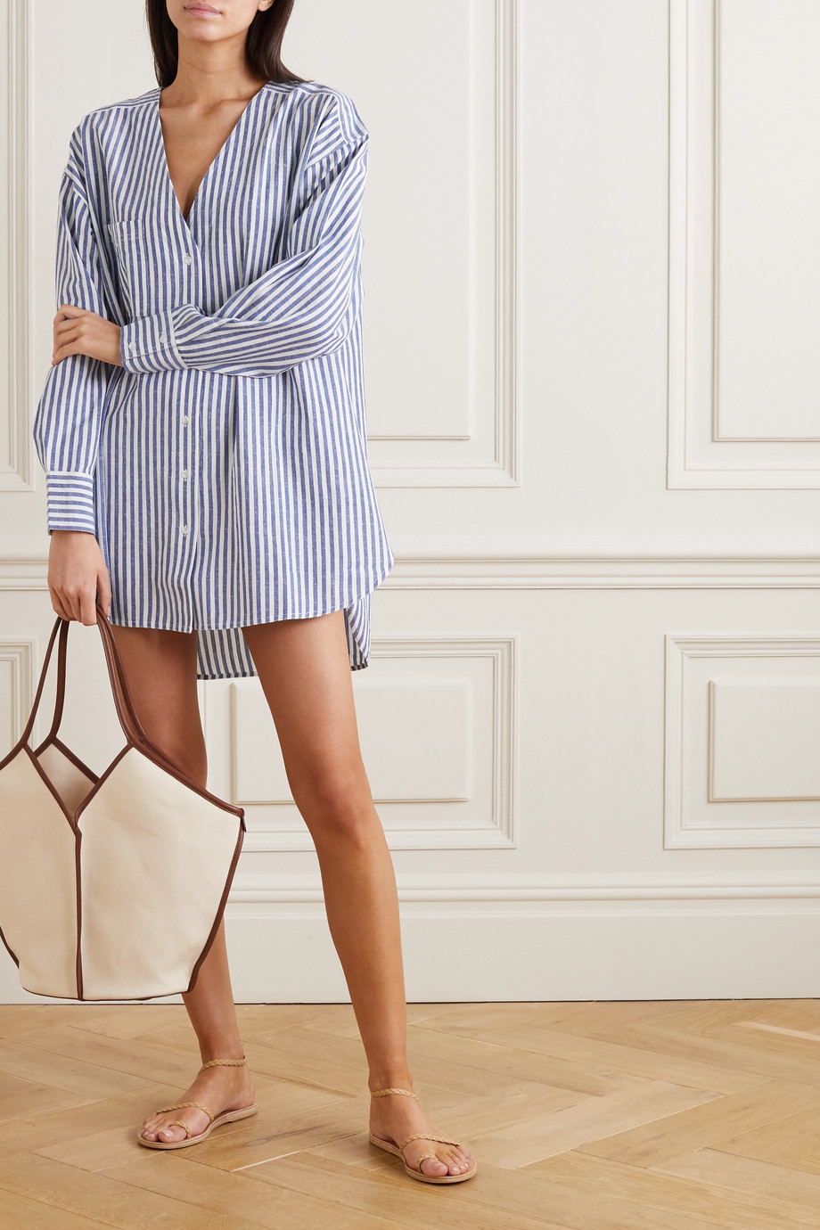 APIECE APART Varna oversized striped cotton and linen-blend shirt