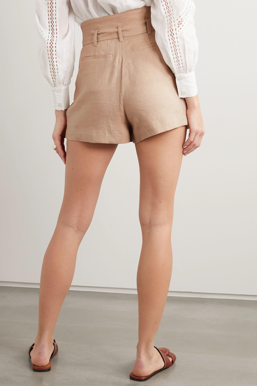 FRAME Belted pleated linen-blend shorts