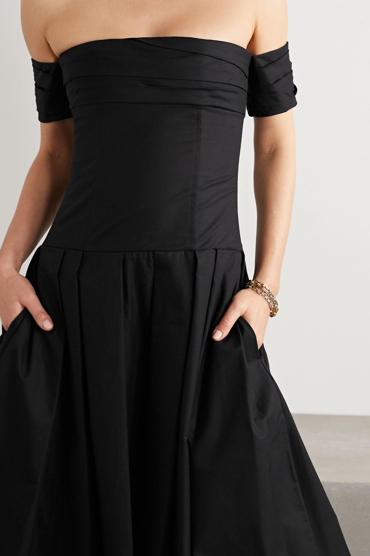 Khaite Amanda off-the-shoulder gathered cotton-twill midi dress