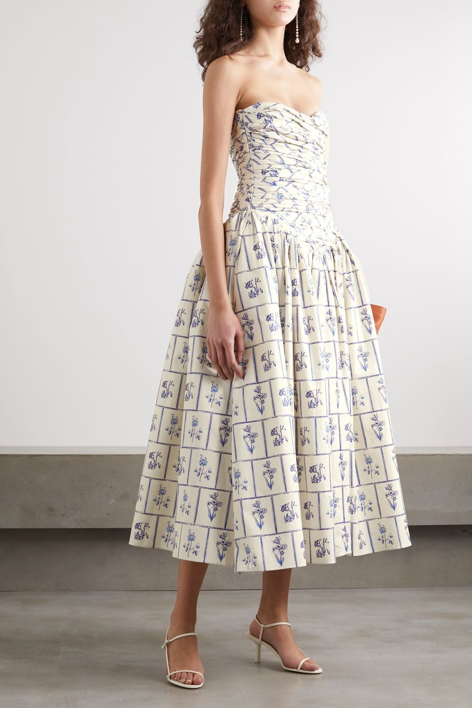 Khaite Cleo ruched printed cotton-twill midi dress