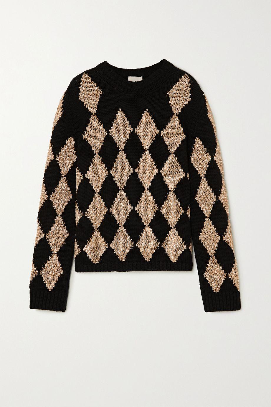 Khaite Penny argyle cashmere-blend sweater