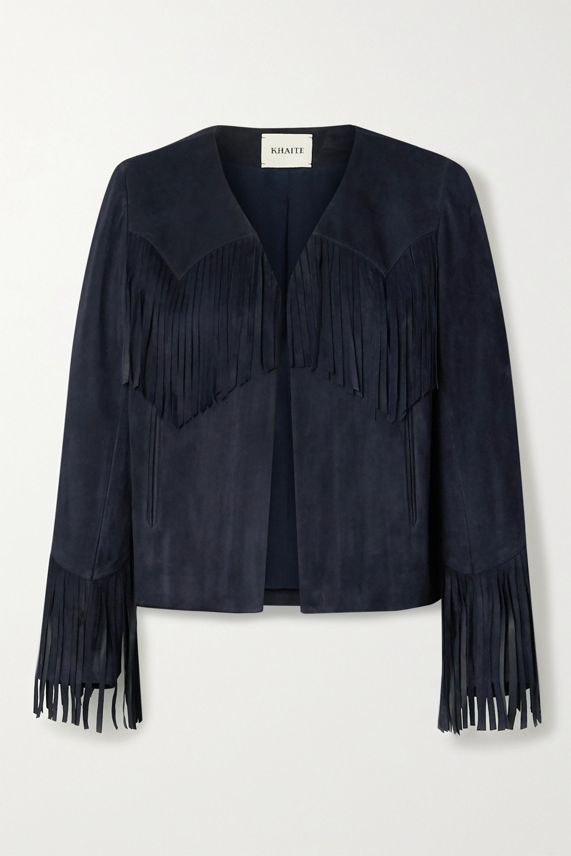 Khaite Gracie cropped fringed suede jacket