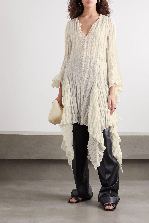 Khaite Laura asymmetric ruffled linen-blend top