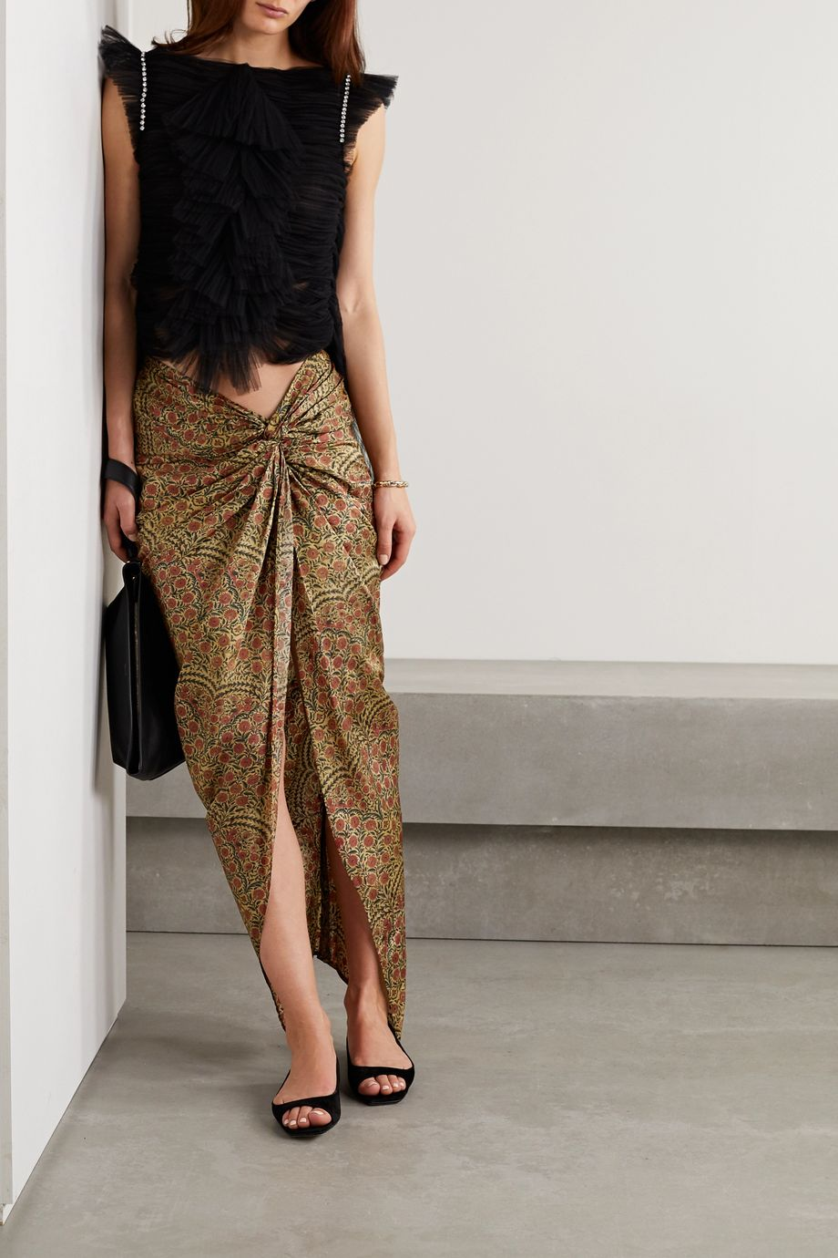 Khaite Louie 垂坠花卉印花斜纹布中长半身裙