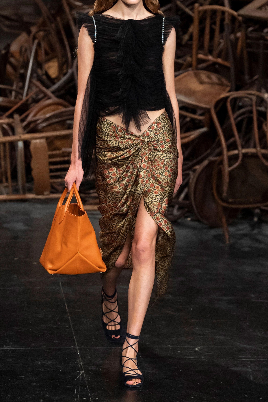 Khaite Louie draped floral-print twill midi skirt