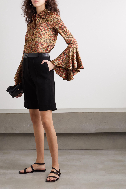Khaite Lottie ruffled floral-print satin blouse