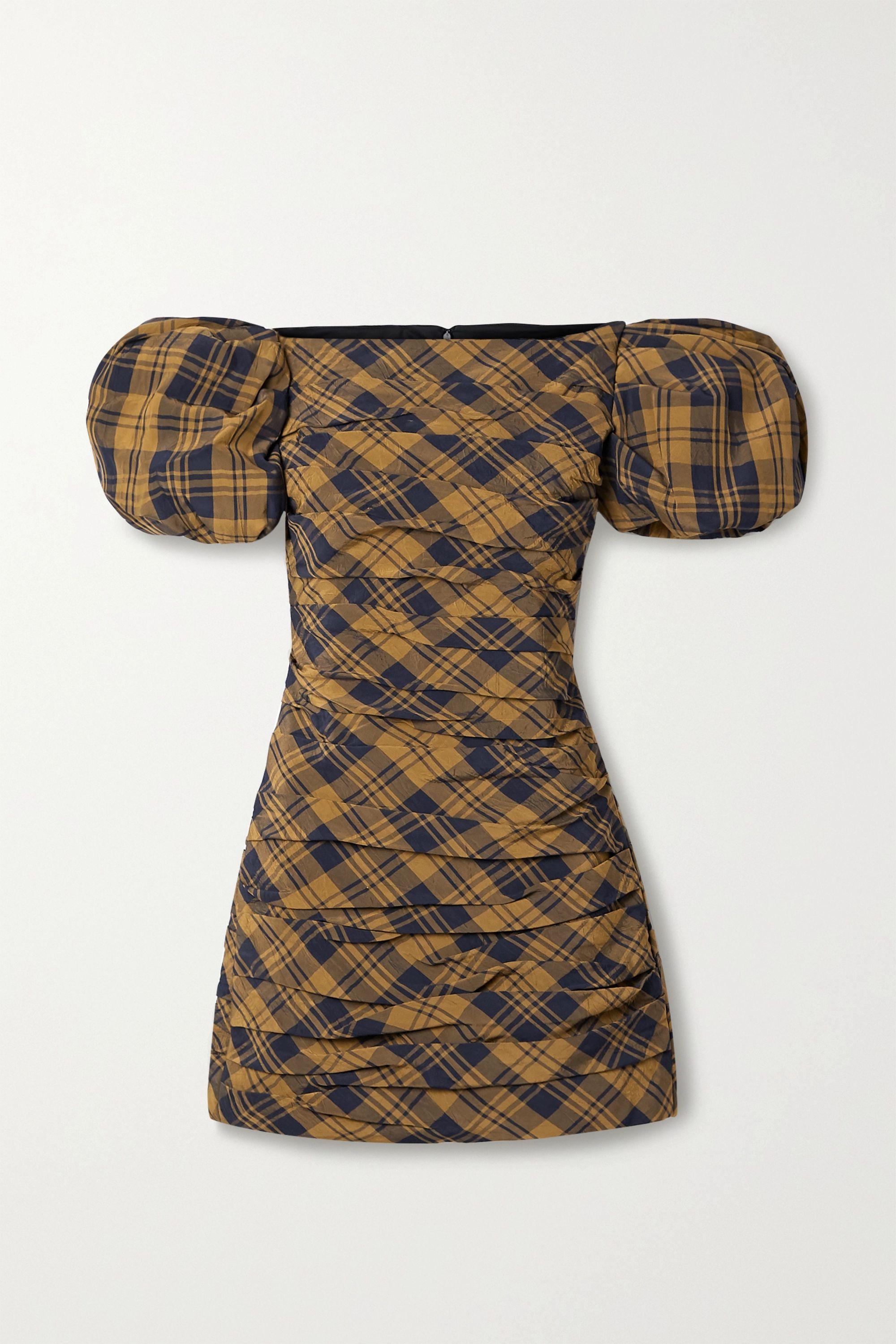 Khaite Shelly ruched checked crinkled-twill mini dress