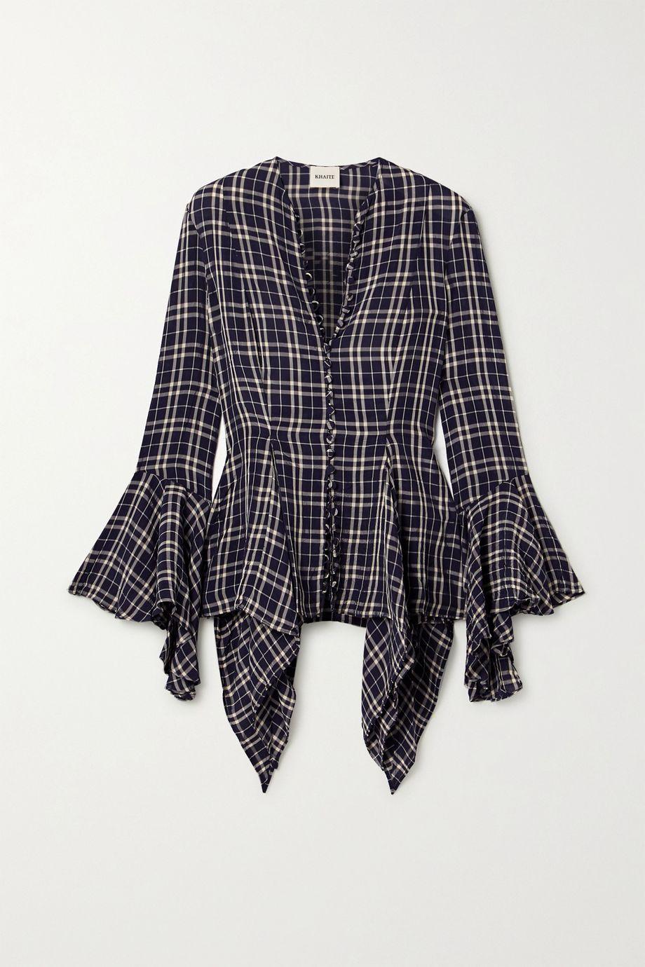 Khaite Elliot asymmetric draped checked voile blouse