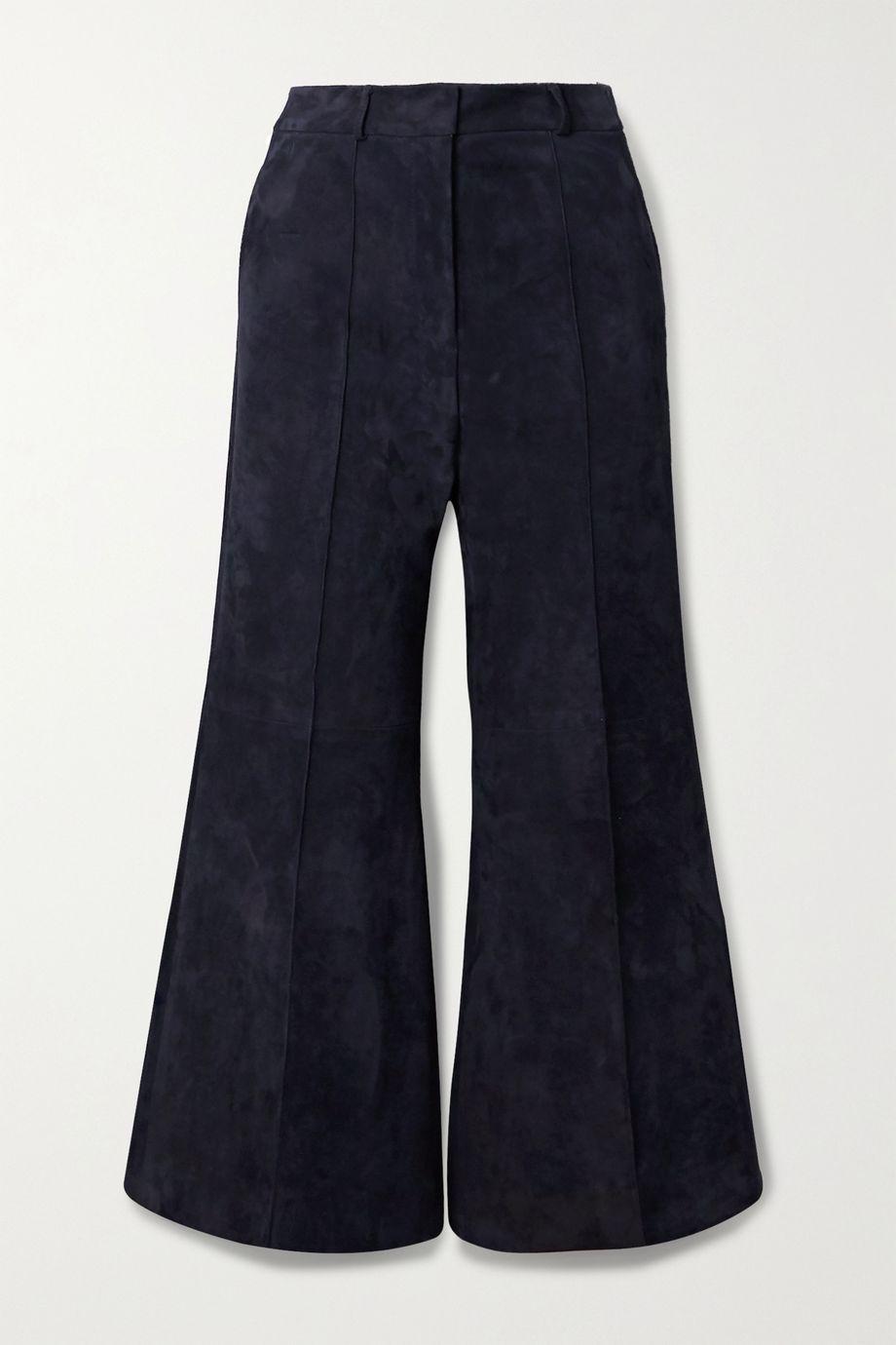 Khaite Bruce cropped suede wide-leg pants