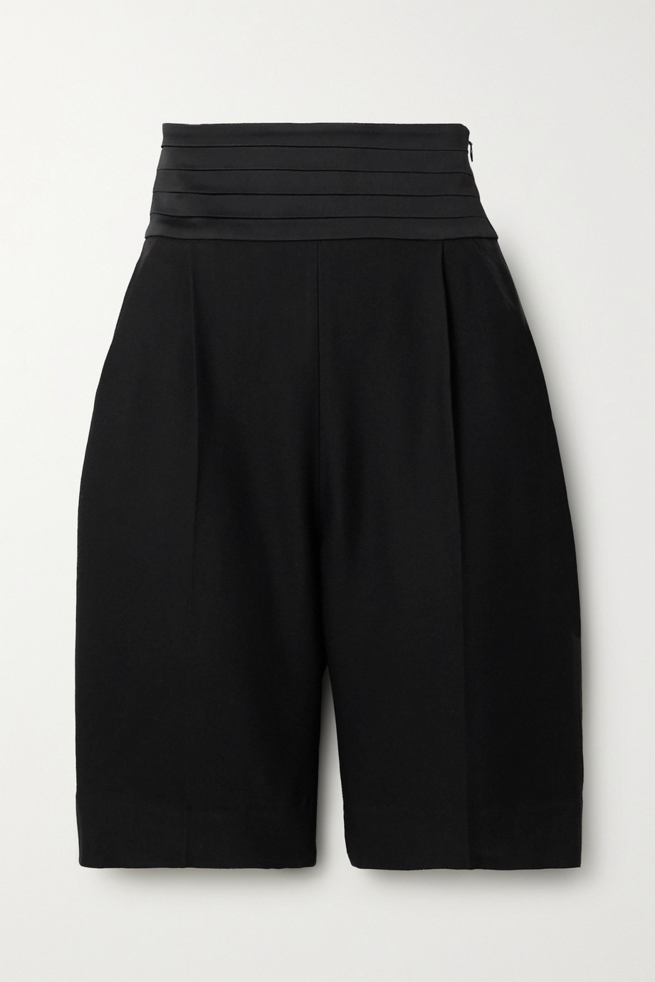 Khaite Birdie pleated satin and twill shorts