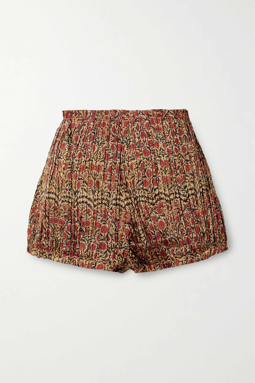 Khaite Hilary 褶裥花卉印花斜纹布短裤