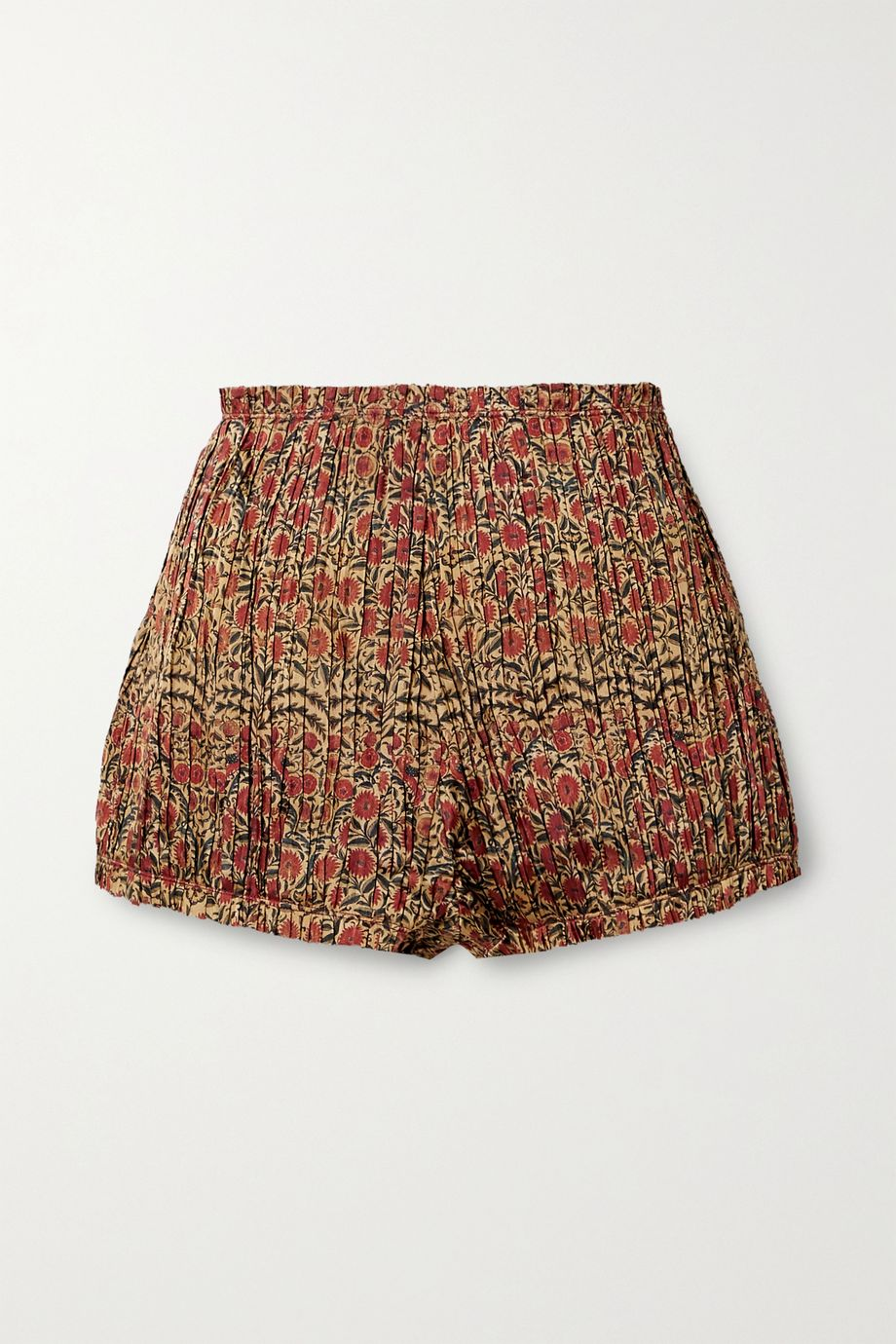 Khaite Hilary pleated floral-print twill shorts