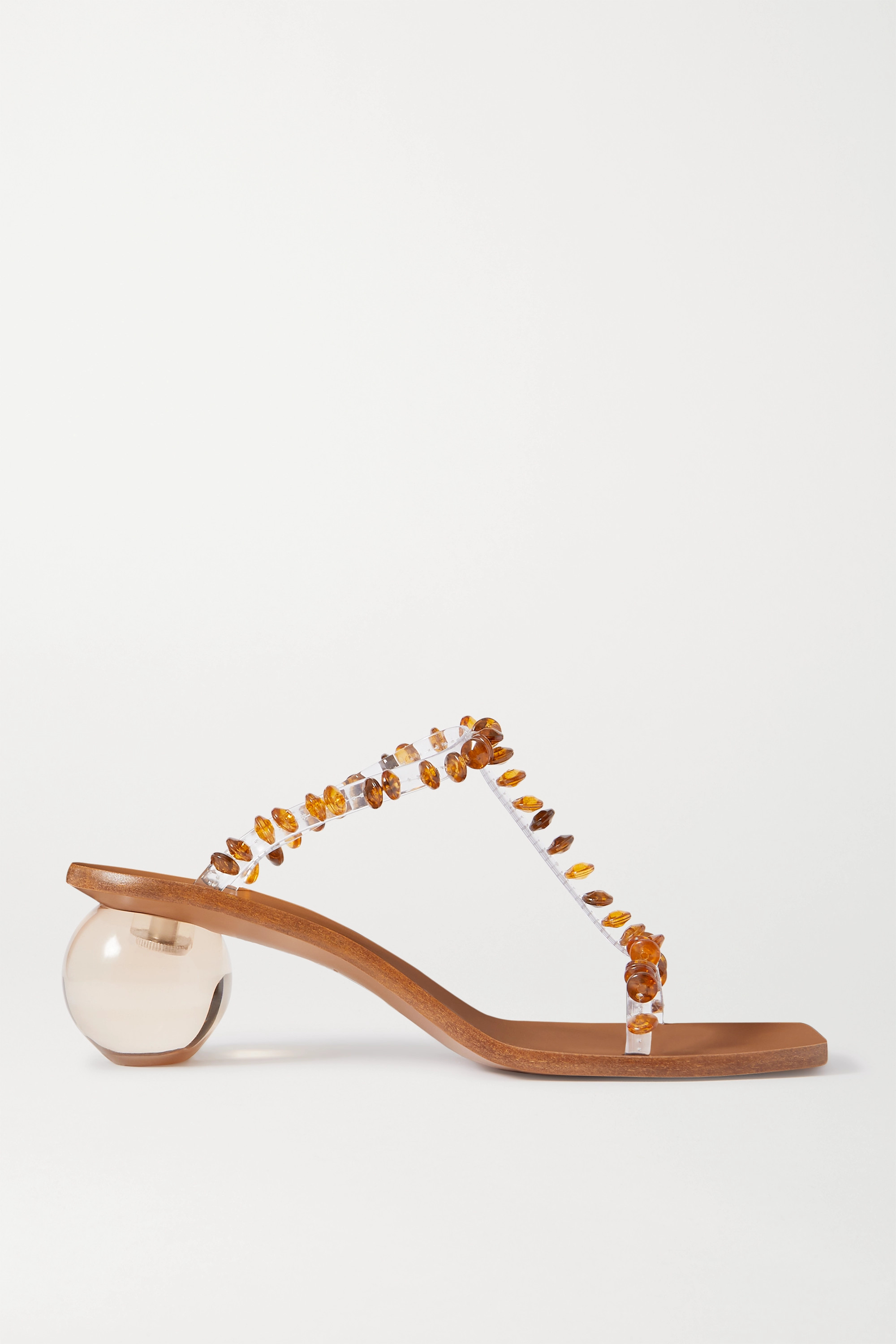 Clear Clio Bead-embellished Pvc Mules | Cult Gaia