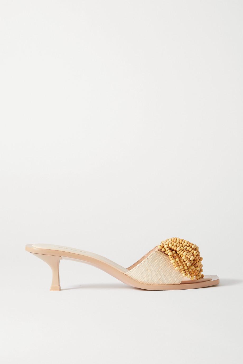Cult Gaia Uma 珠饰拉菲草皮革穆勒鞋