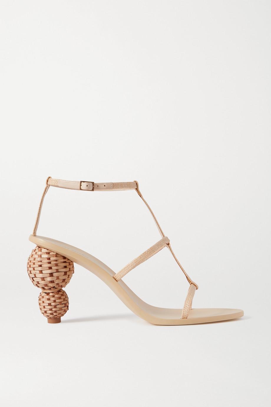 Cult Gaia Eden 拉菲草皮革凉鞋