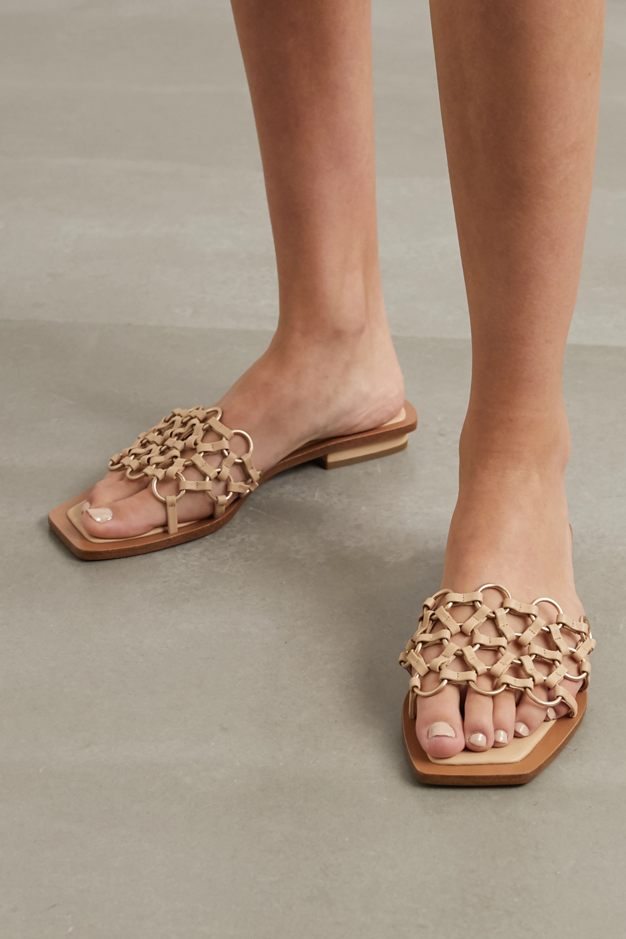 Cult Gaia Bea embellished woven leather sandals