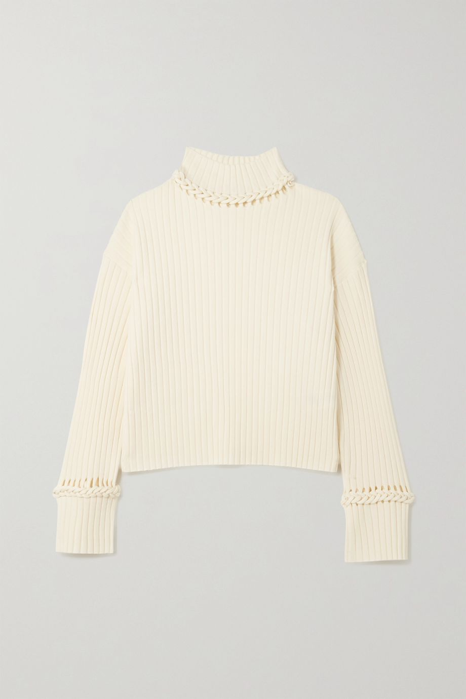 Dion Lee Braided ribbed merino wool-blend turtleneck sweater