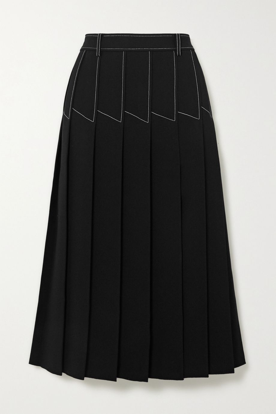Dion Lee Topstitched pleated crepe midi skirt