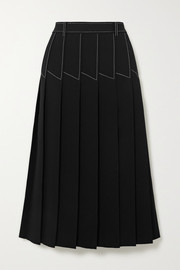 Topstitched pleated crepe midi skirt