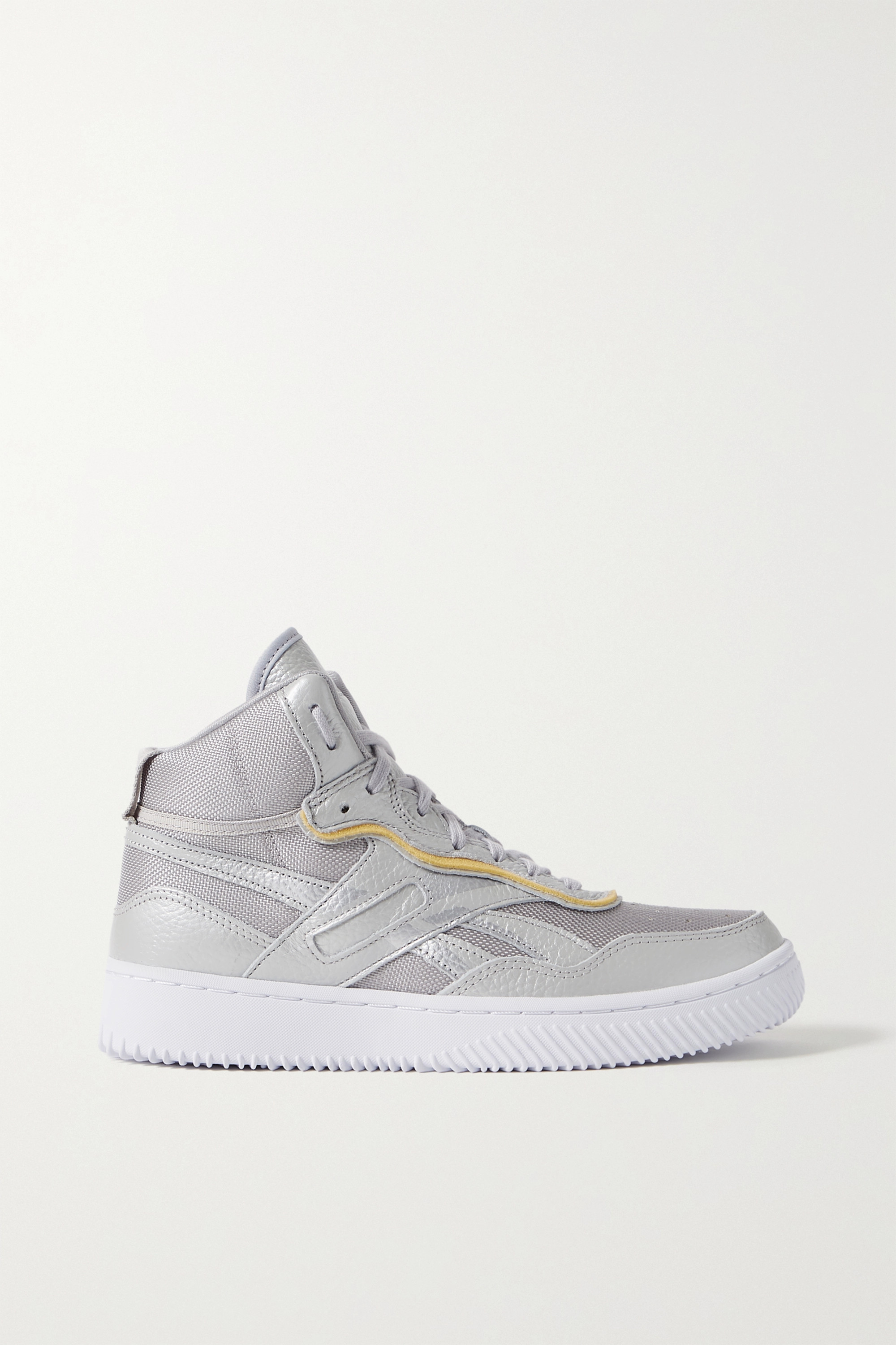 Reebok X Victoria Beckham Dual Court suede-trimmed metallic textured-leather and mesh sneakers