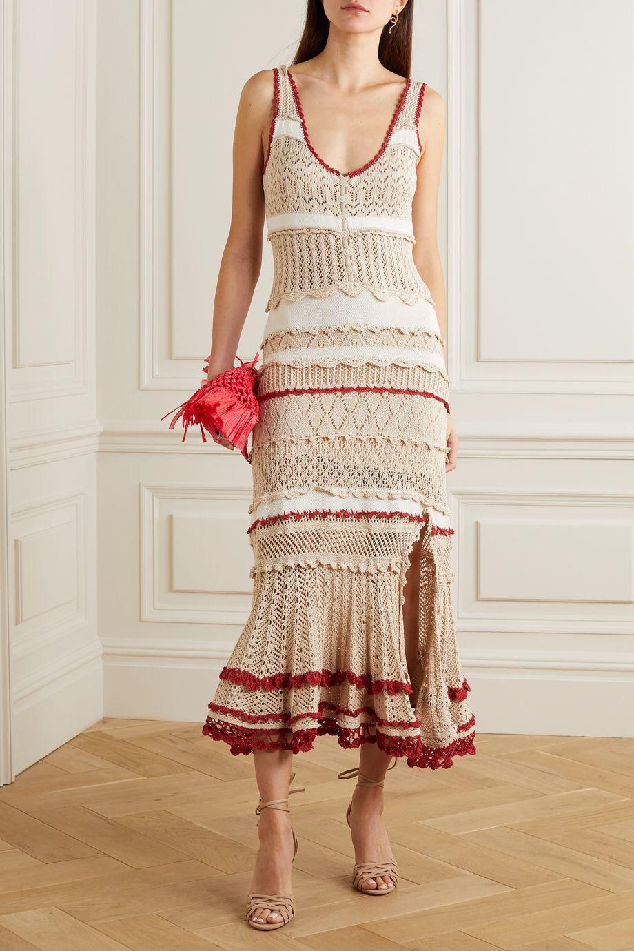 Altuzarra Herrick striped pointelle-knit stretch-cotton midi dress