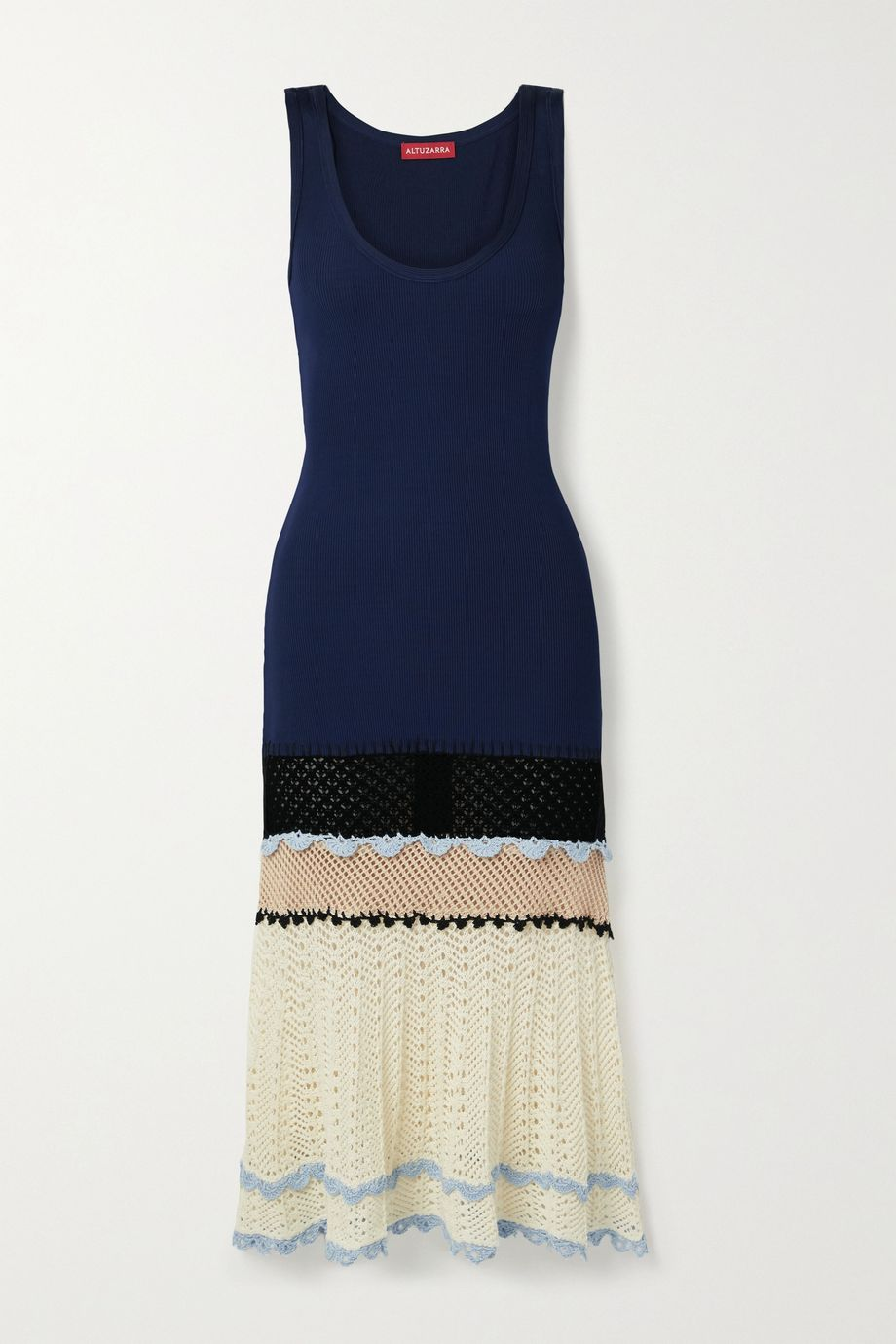 Altuzarra Cordgrass crochet-paneled ribbed jersey midi dress
