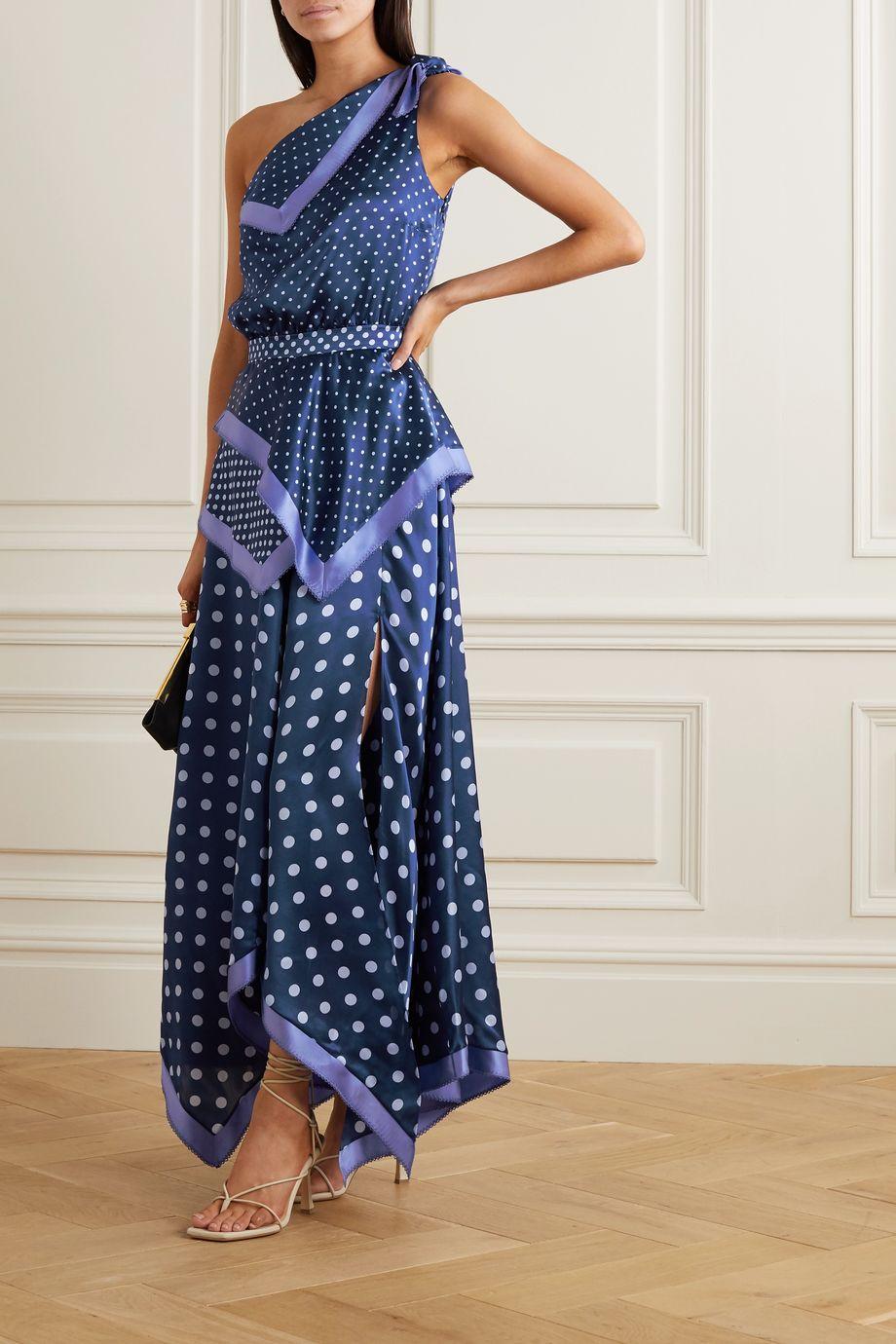 Altuzarra Petrel one-shoulder asymmetric polka-dot silk-satin dress