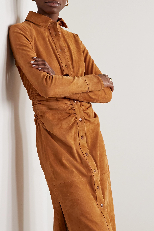 Altuzarra Claudia Midi-Hemdblusenkleid aus Veloursleder mit Raffungen