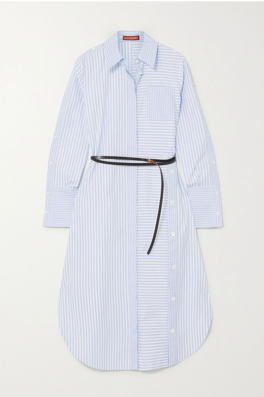 Altuzarra Aster belted button-detailed striped cotton-poplin shirt dress