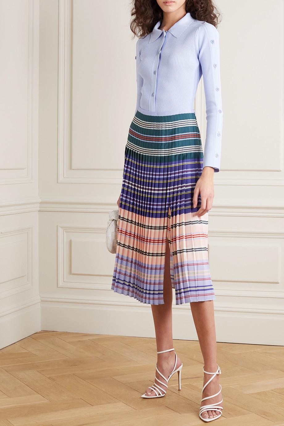 Altuzarra Haylard pleated striped crepe de chine midi skirt