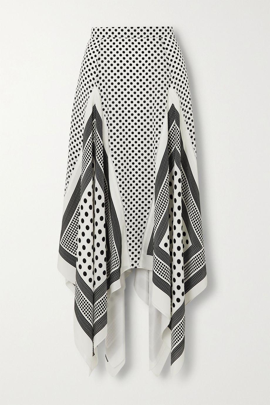 Altuzarra Boom asymmetric polka-dot silk crepe de chine skirt