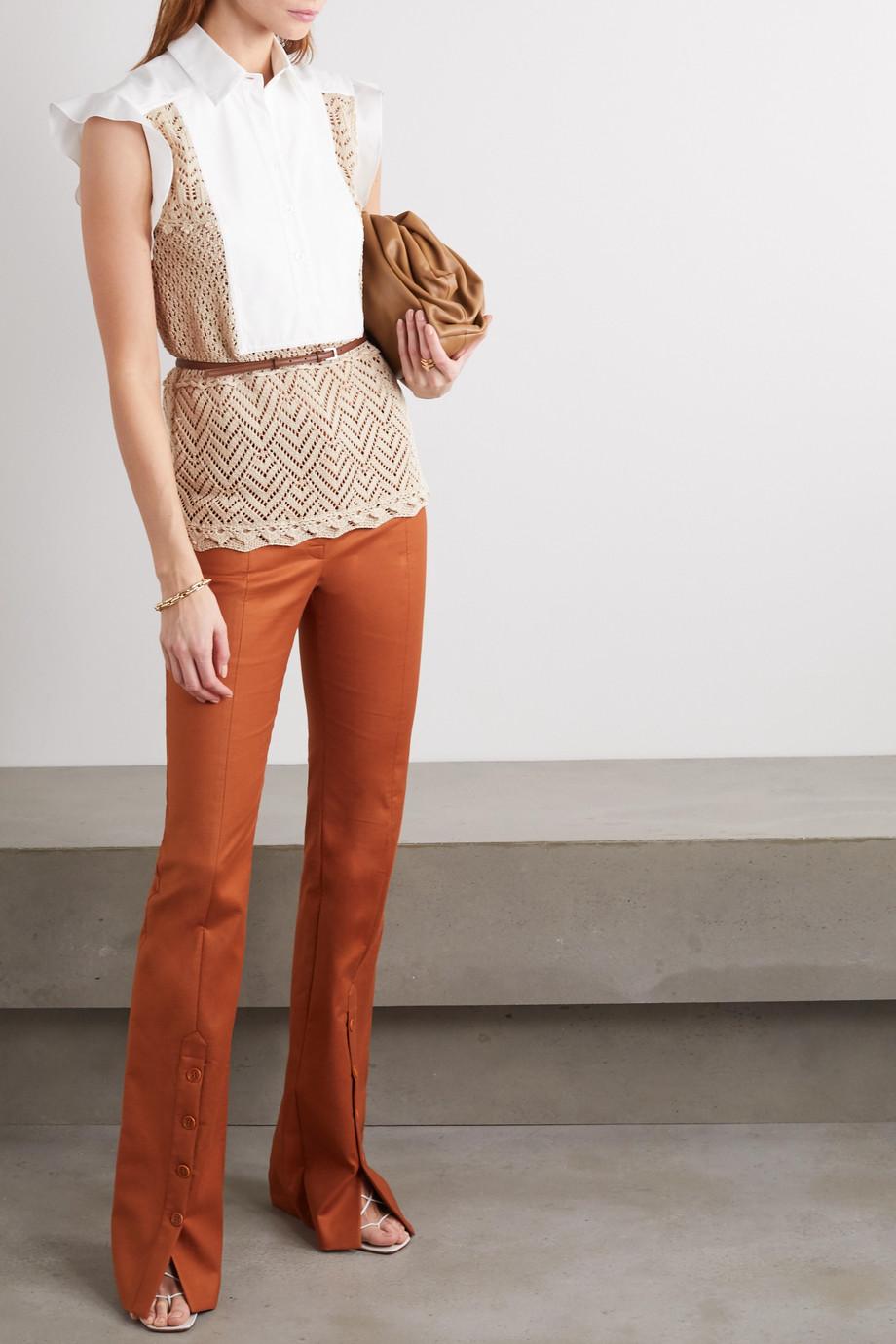 Altuzarra Batten paneled crocheted cotton and poplin blouse