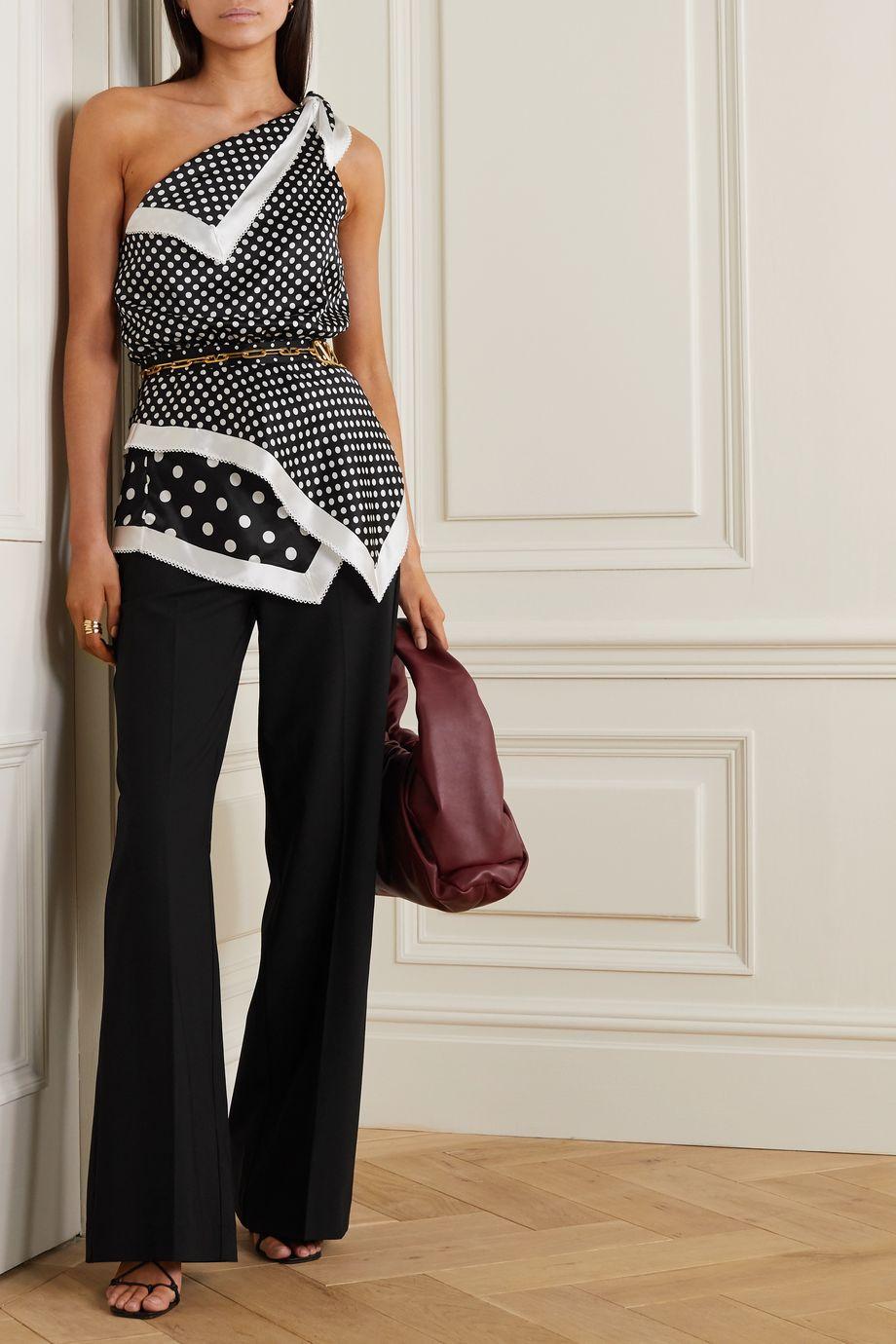 Altuzarra Luff one-shoulder asymmetric polka-dot silk-satin top