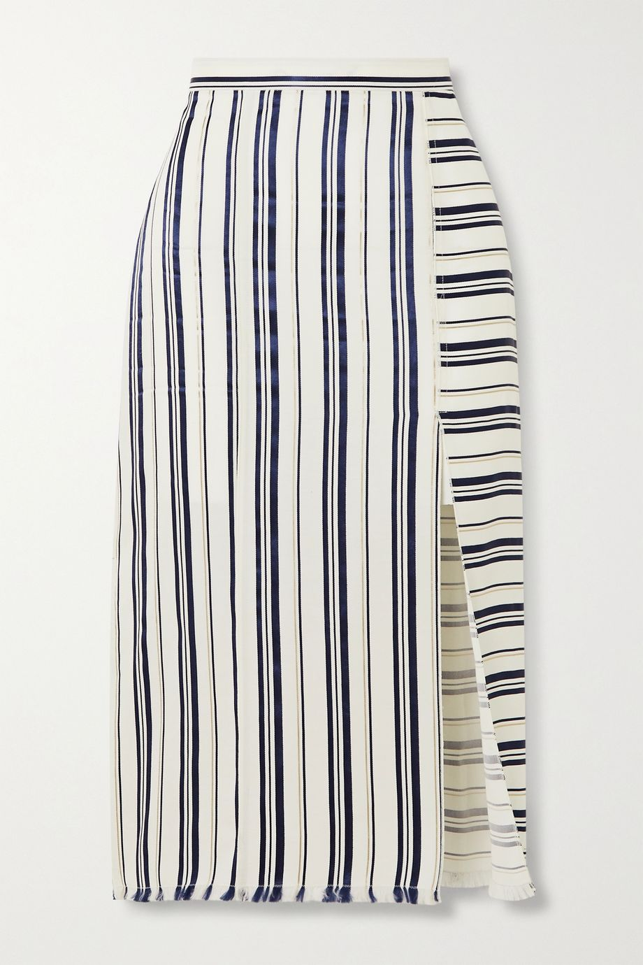 Altuzarra Scrimshaw fringed striped Lyocell-blend crepe de chine skirt
