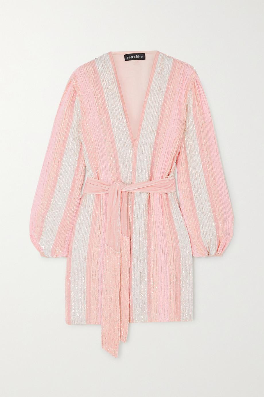 Retrofête Gabrielle velvet-trimmed striped sequined chiffon wrap mini dress