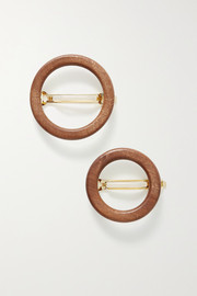 Cult Gaia Ria set of two wood hair clips