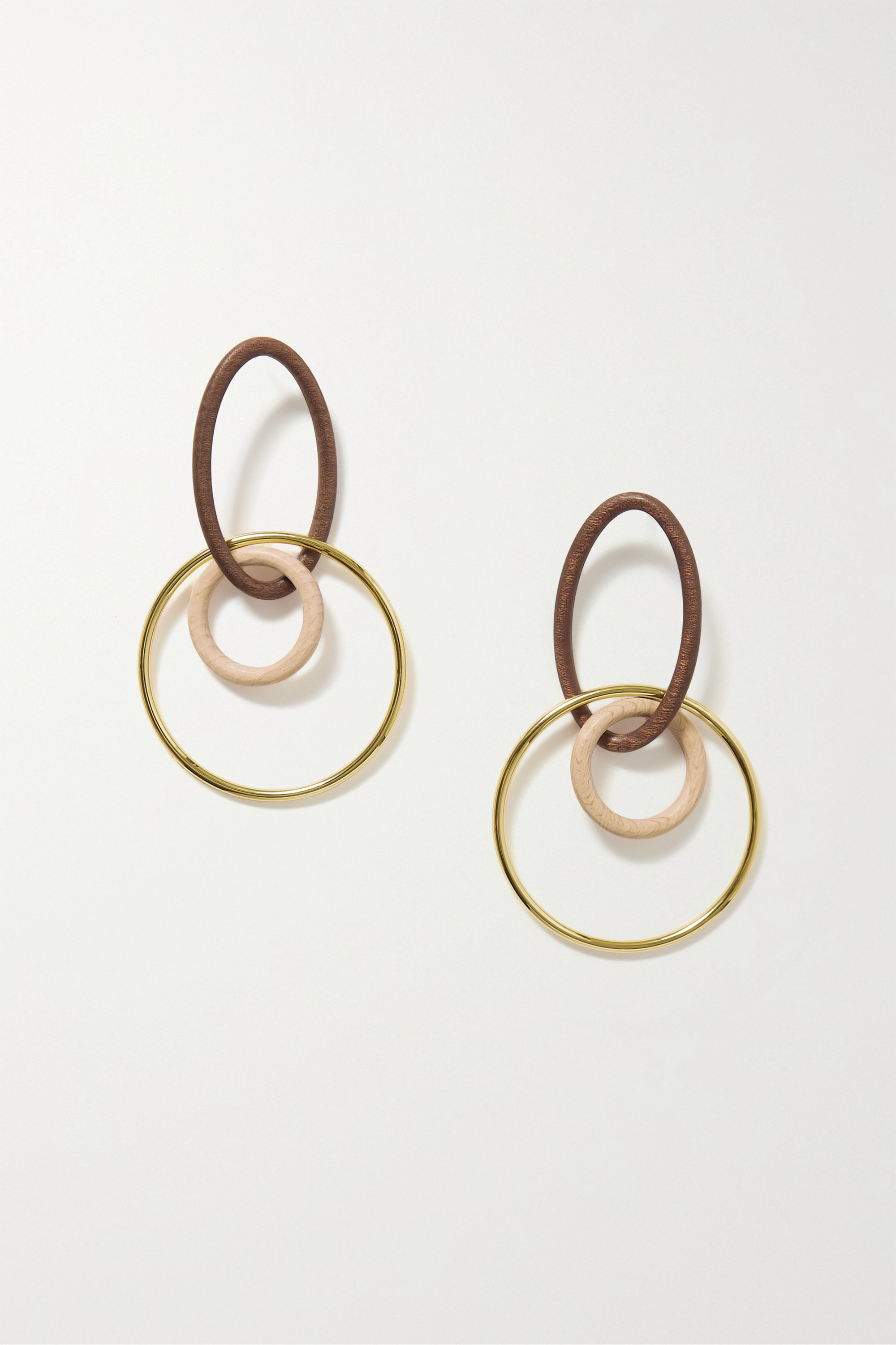 Cult Gaia Tria gold-tone wood earrings