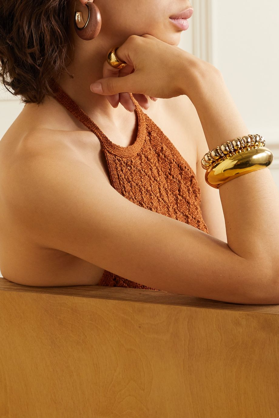 Cult Gaia Mona gold-tone wood hoop earrings