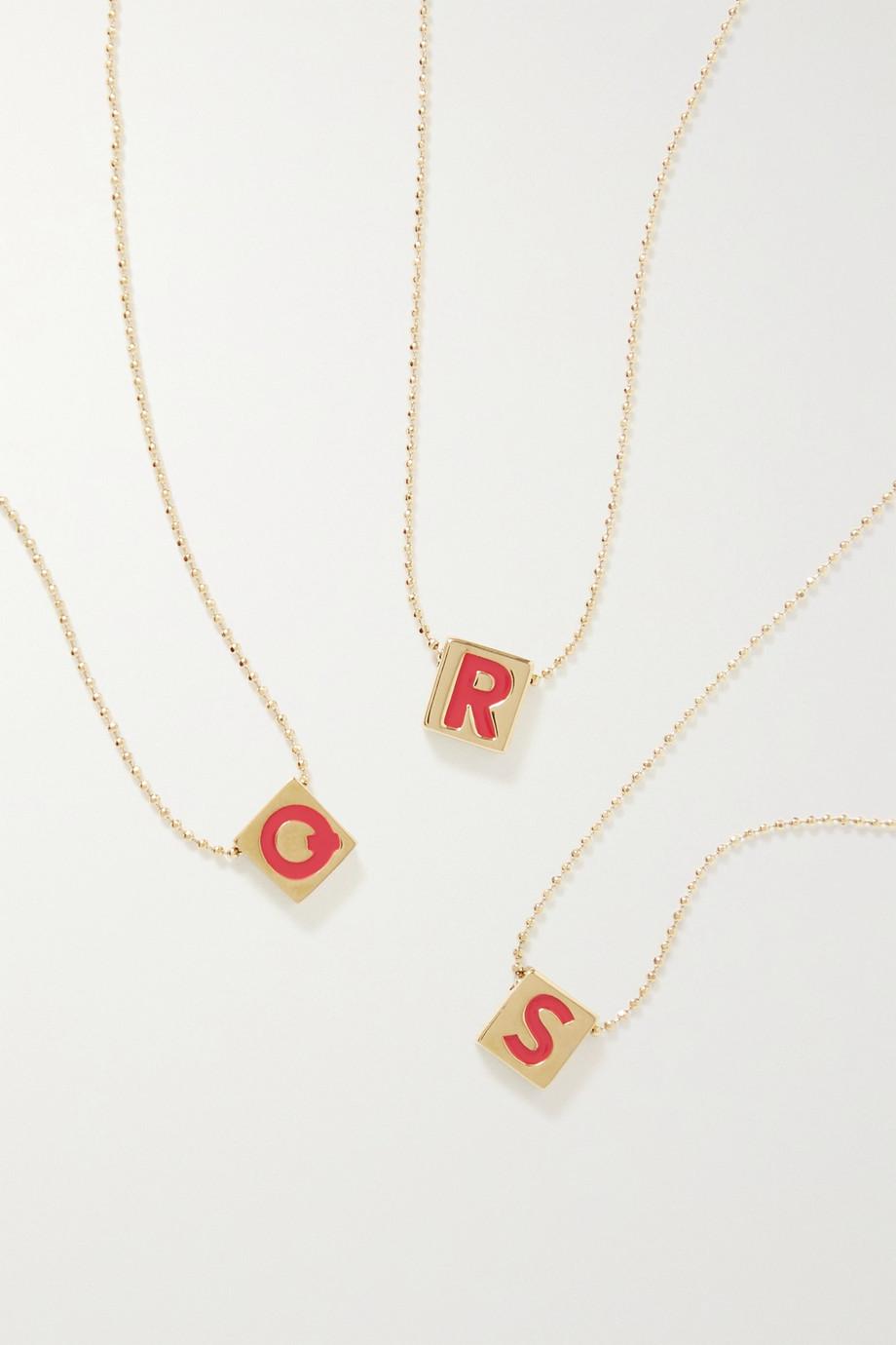 록산느 애슐린 목걸이 Roxanne Assoulin Initial This gold-plated and enamel necklace,Gold