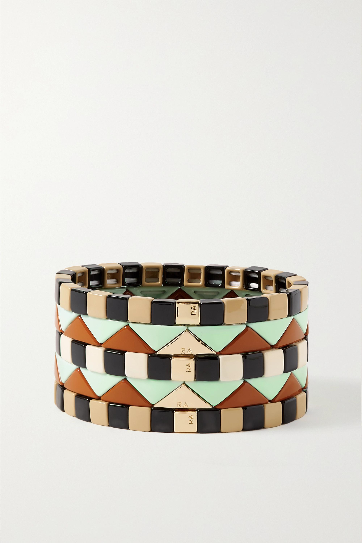 Roxanne Assoulin Terazzo Set aus fünf Armbändern mit Emaille und vergoldeten Details