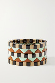 Terrazzo set of five enamel and gold-plated bracelets