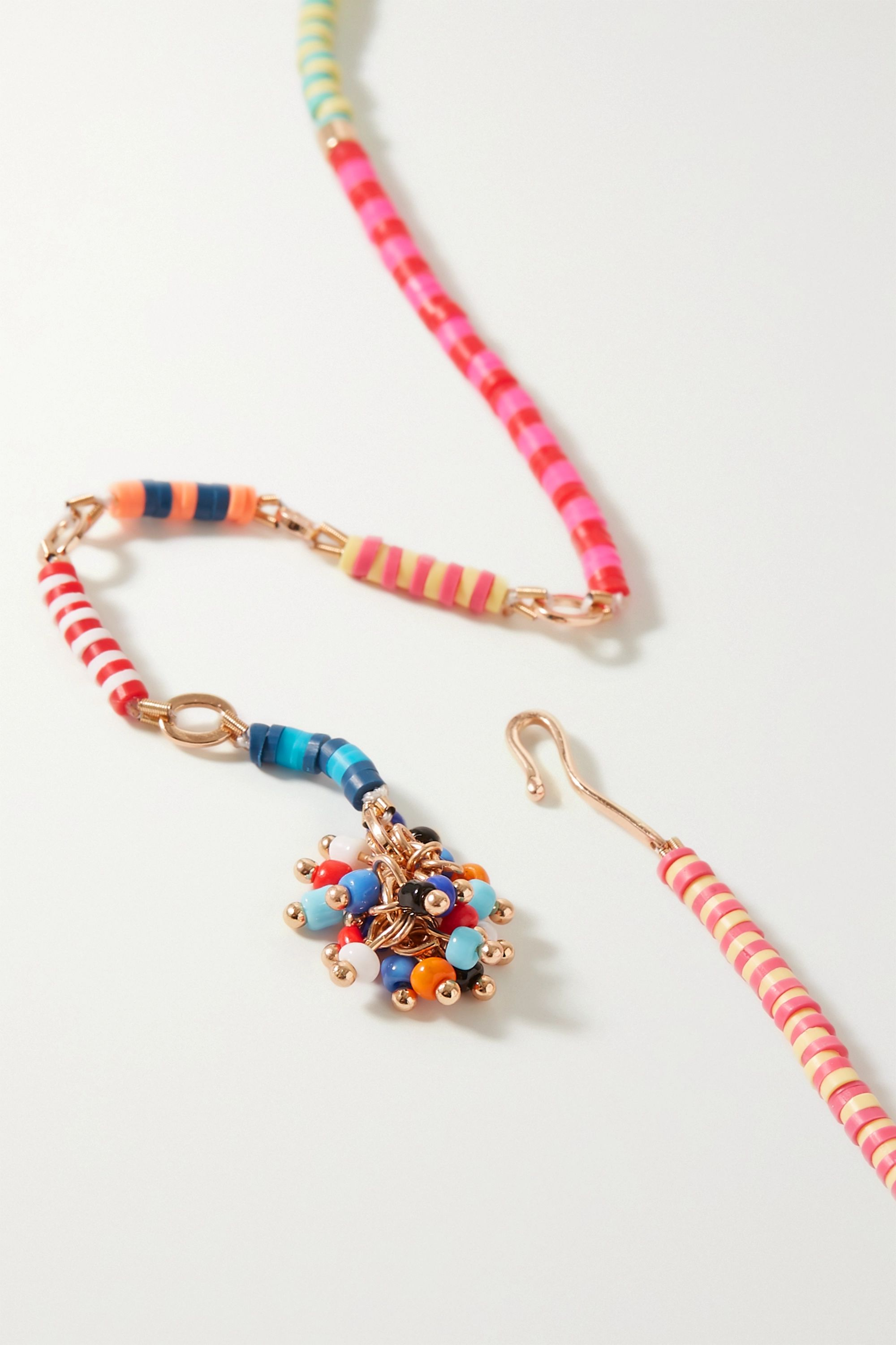 Roxanne Assoulin Happy Stripes enamel and gold-tone necklace