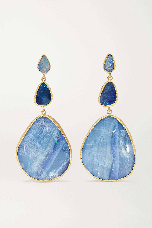 Pippa Small 18-karat gold opal earrings
