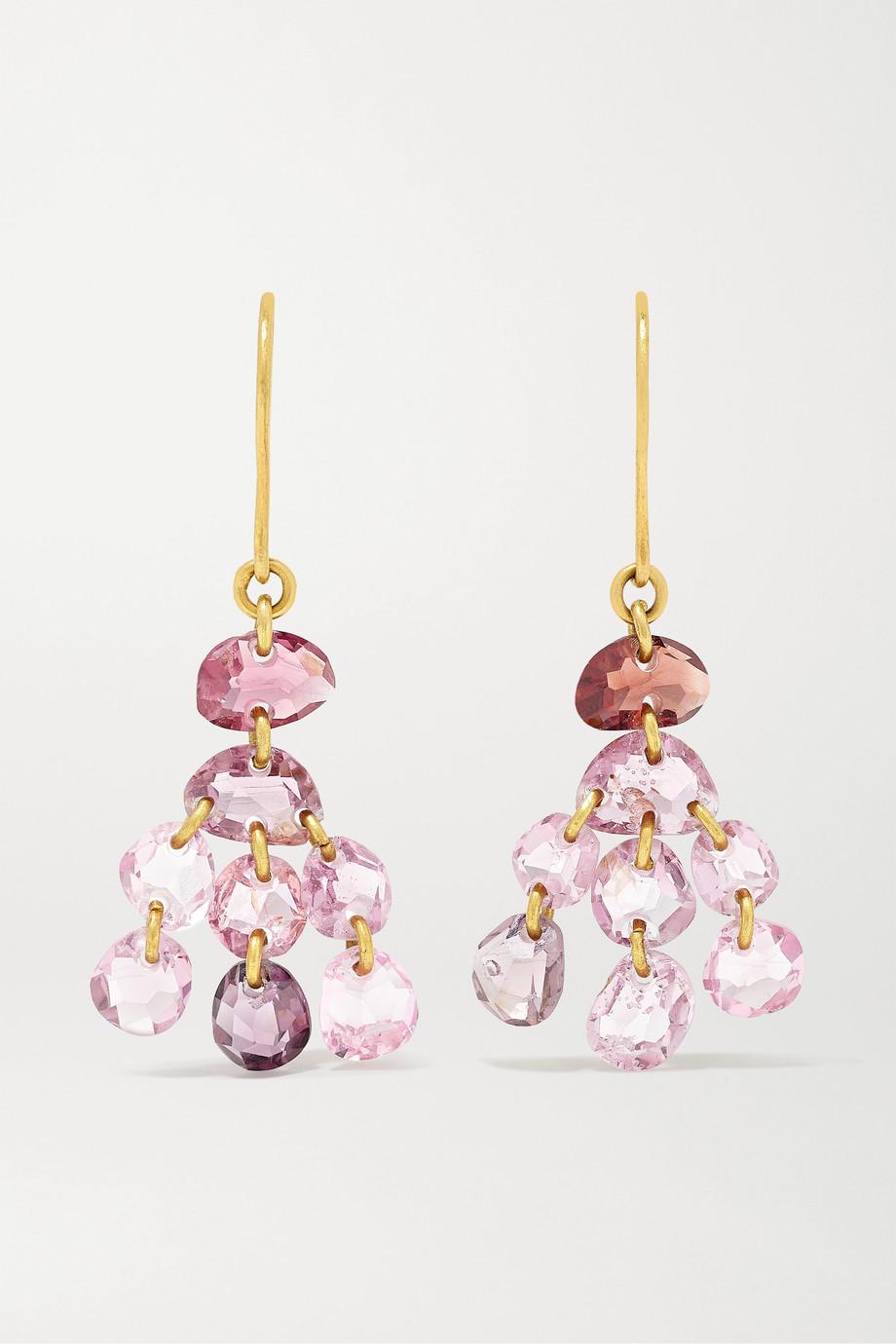 Pippa Small 18-karat gold spinel earrings