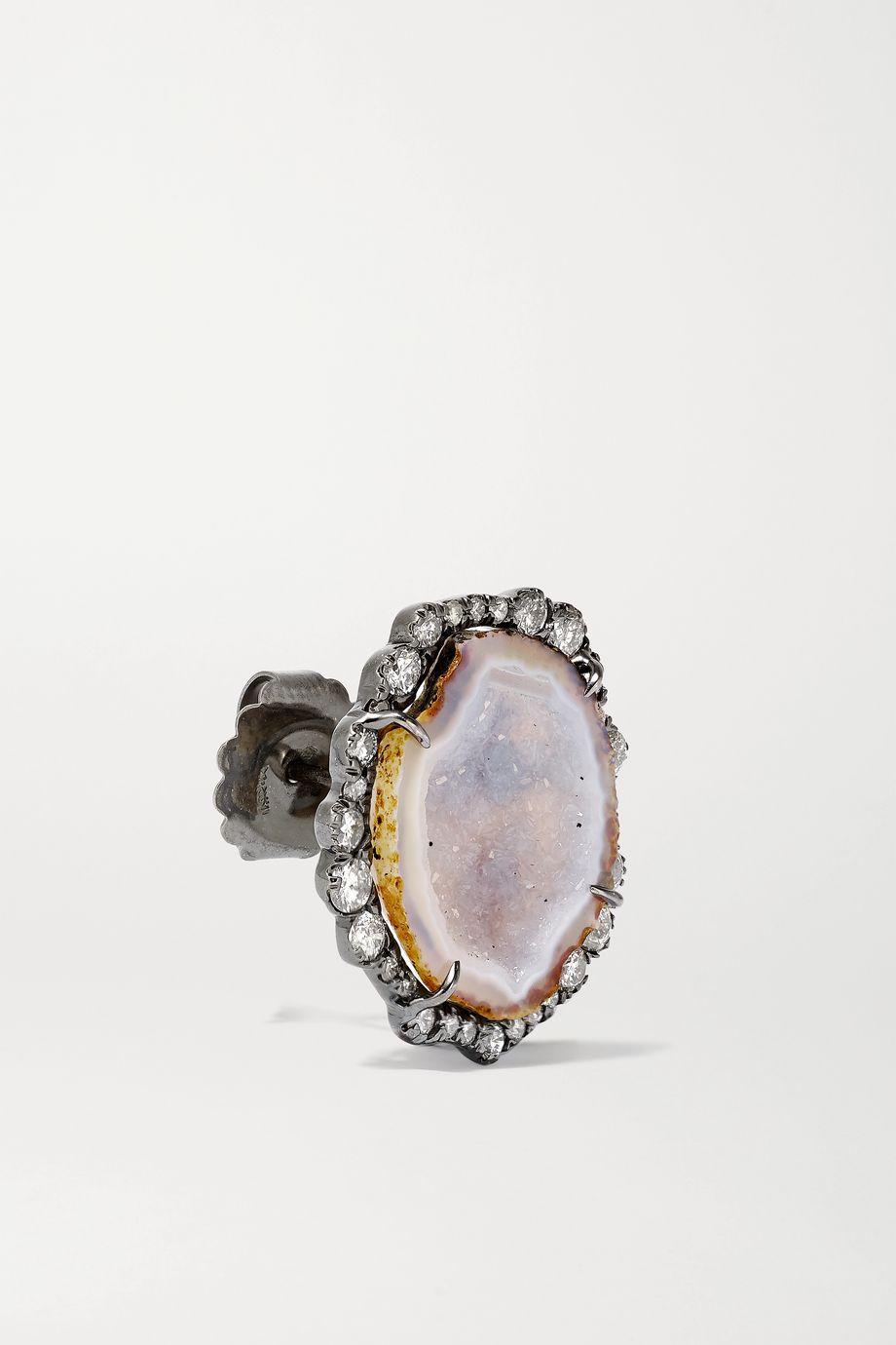 Kimberly McDonald Boucles d'oreilles en or blanc 18carats noirci, géodes et diamants