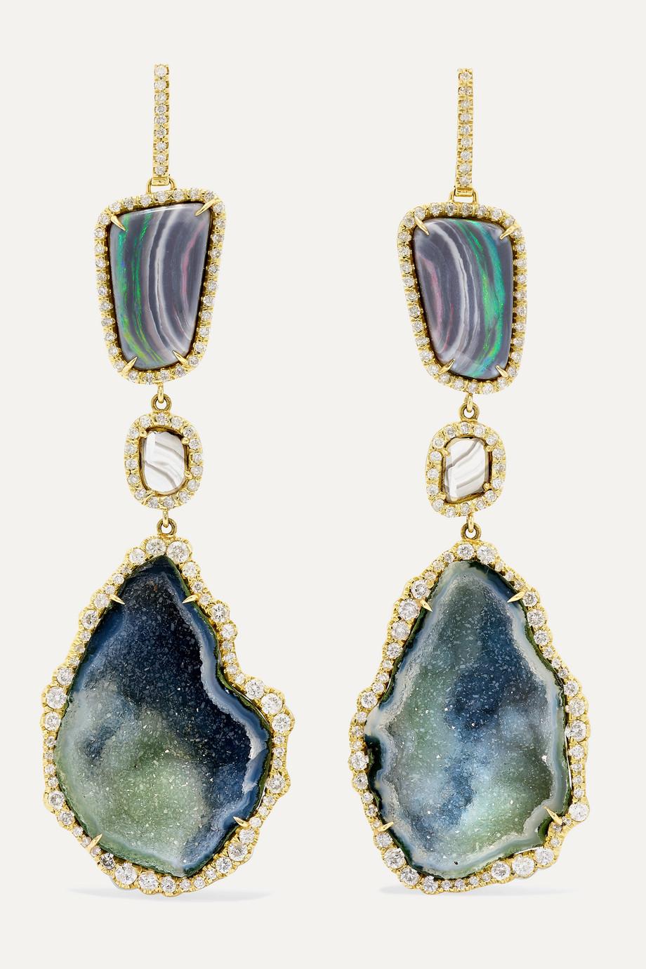 Kimberly McDonald 18-karat green gold multi-stone earrings