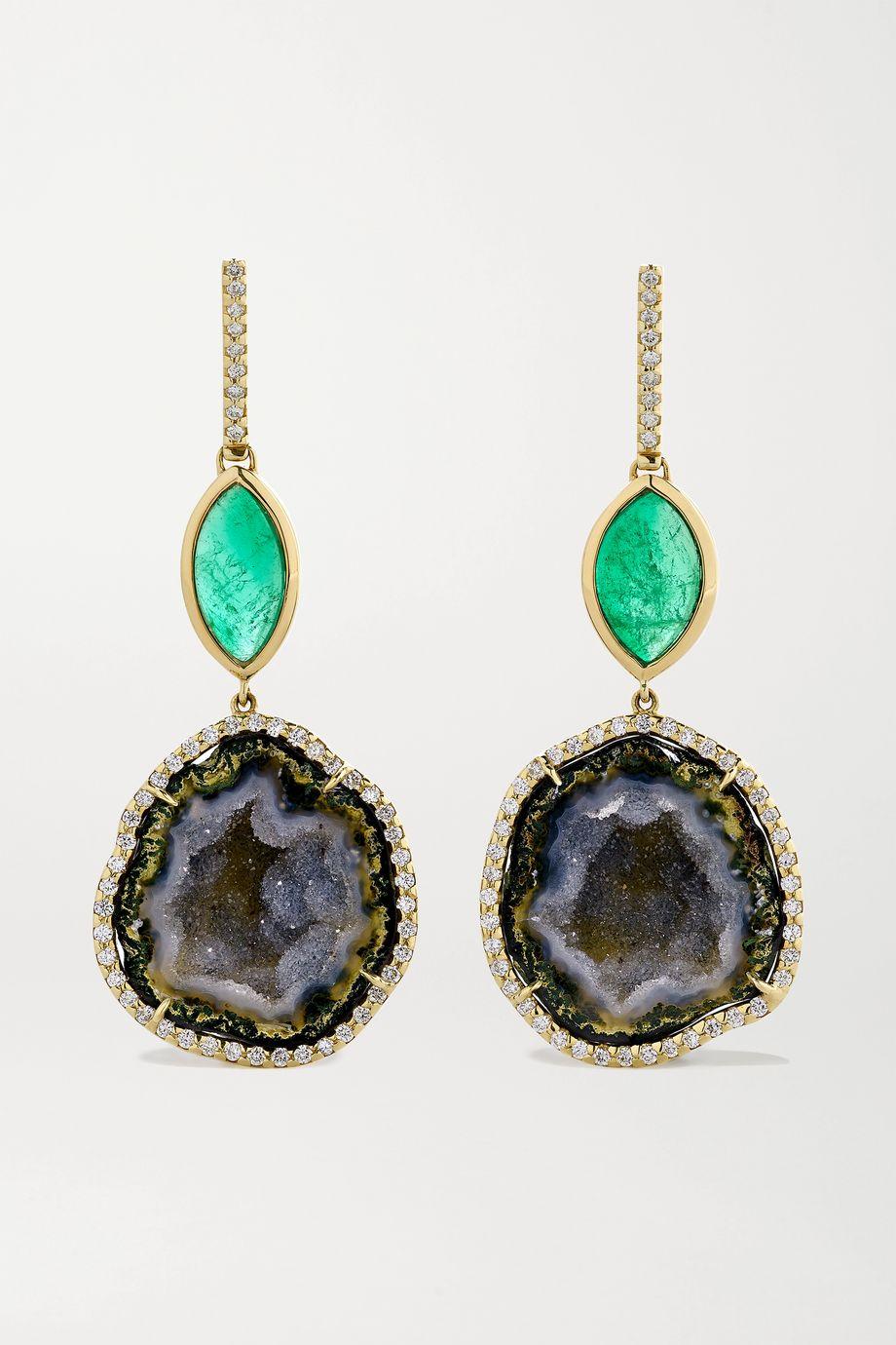 Kimberly McDonald 18-karat green gold, geode, emerald and diamond earrings