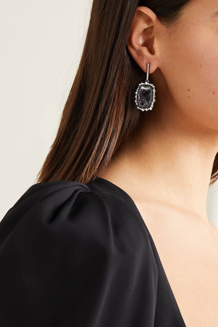 Kimberly McDonald 18-karat blackened white gold, geode and diamond earrings