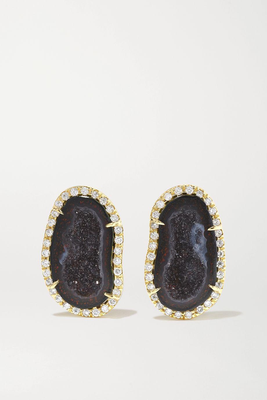 Kimberly McDonald Boucles d'oreilles en or 18carats, géodes et diamants