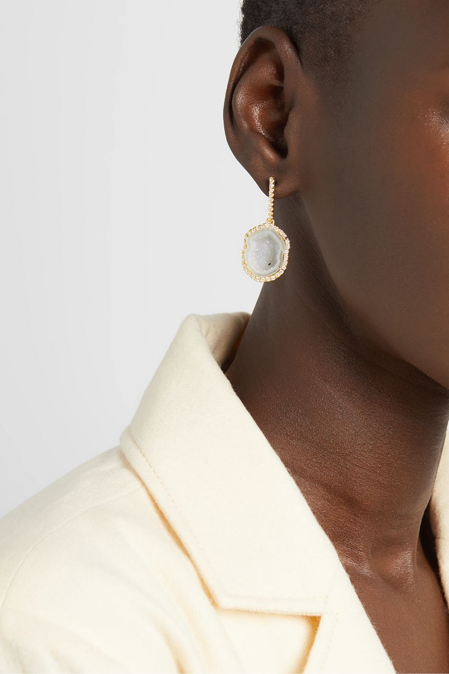Kimberly McDonald 18-karat green gold, geode and diamond earrings